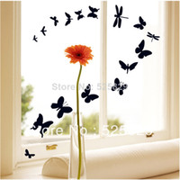 Paper Wallpapers Waterproof Living Room 1 Set Black Butterfly PVC Removable Wall Sticker Decorate Window Glass Home Decoration DIY Art Vinyl Decals on sale