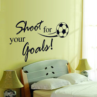 Wholesale 2014 New Football Fans Favorite English Vinyl Wall Decals quot shoot for your goals quot Waterproof Wall Stickers Words Home Decor