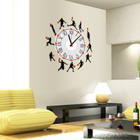 Paper Wallpapers Waterproof Living Room 1Piece 40*45CM Basketball Portfolio Wallpaper DIY Creative 3D Wall Sticker Clock Combination Clock Painting Decorate stickers