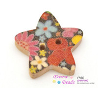 Quilt Accessories B15103 Wood 100 Star Shape 2 Holes Wood Sewing Buttons (B15103)