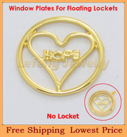 Trendy Plates-W27 Yes Wholesale 22mm Gold Heart Hope Floating Window Plates For 30mm Glass Living Lockets