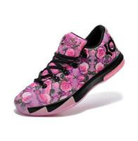 Wholesale new KD Aunt Pearl black pink rose flower Kevin Durant VI Supreme Floral men basketball shoes size