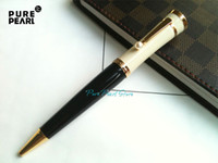 Wholesale OP PURE PEARL MB SPECIAL Copy High Quality Stationery Pearl Golden Clip Black and White Cap Ballpoint Pen