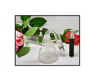 Wholesale 2pcs Original Glass Shisha Atomizer Clearomizer Pyrex Glass Hookah Wax Water Pipe Teapot Style for eGo Battery E Cigarette Retail Box