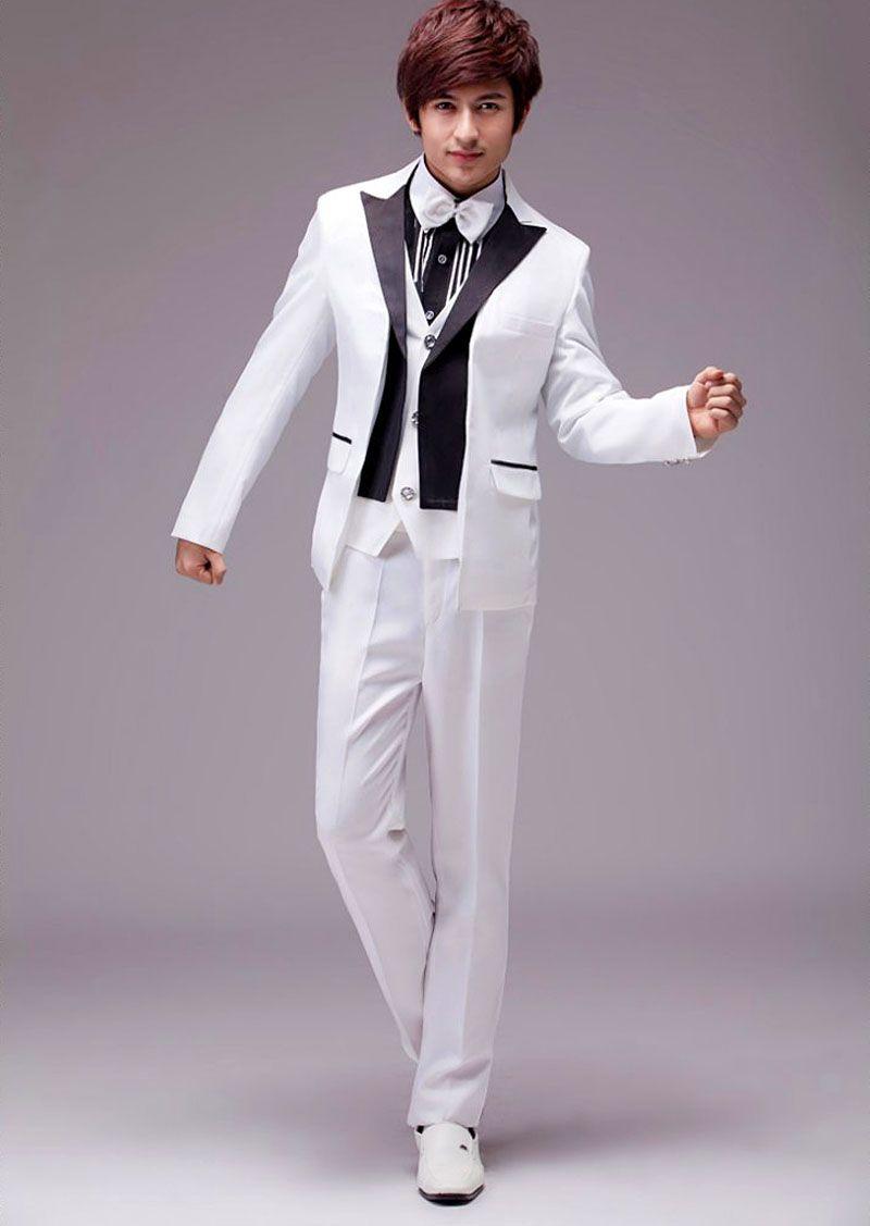 Hot ! White Tuxedo Jacket Black Lapel Wedding Dresses Mens Slim ...