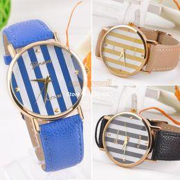 New 2014 Classic Gold dial Fashion Designer Watch stripe surface PU Leather Unisex Analog Quartz strap Wrist Watches B6 SV003183