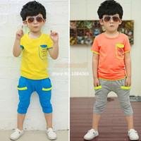 Wholesale 2014 New Boys Suits Letters Sleeve Pocket Stitching Cotton Leisure Children Clothing Set Baby Boys Sets Kids Set Drop Shipping
