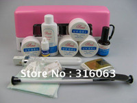 Wholesale OP Full Set UV Gel Kit Nail Pen Topcoat Cleanser W Pink UV Gel Curing Lamp With A Small Light NA135