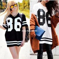 Women V-Neck Long Summer Fashion Hot Style Oversized 86 Print Baseball Tee T-shirt Short Sleeve Top College Loose Dress Black M-XL #4 SV002967