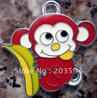 Fashion red monkey - Zinc Alloy Metal Enamel lovely red monkey Charms x24mm