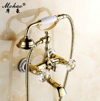Wholesale cold and hot water gold handheld shower bathtub faucet
