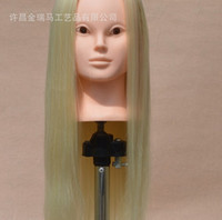beige blonde hair - Training Hairdressing Mannequin Wig Head Practice Updo Make Up Long Straight Hair Oblique Bangs Beige Blonde Maroon With Holder