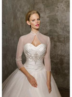 Wholesale 2014 New Fashion White Ivory In Stock Sheer Wedding Wraps Jackets Bridal Accessories With Sleeves Hot Sale W20140079