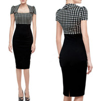 houndstooth - 2015 Women Bandage Dresses Office Work Party Pencil Dress Plus Size Summer Dresses Vintage Houndstooth Elegant OL Formal Wear