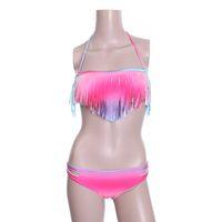 Wholesale New Bikini Set Fashion Ladies Sexy Swimwear Tassel Fringe Rainbow Padded BandeauTop Swimsuit Beachwear H2830
