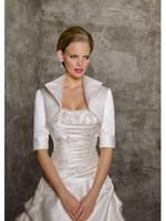 Wholesale 2014 Style Cheapest Taffeta Wedding Bridal Bolero Jackets Half Sleeve Mother Of The Bridal Modest Jacket Wraps High Quality