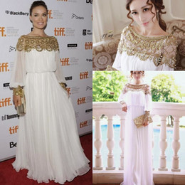 Wholesale 2014 New Fashion Chiffon Evening Dresses Luxury Beaded Jewel Neck Floor length Column Soft Dubai Kaftan Abaya Celebrity Gowns Hot Prom