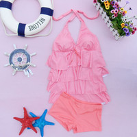 Bra Sets Women Tankinis Set 2013 split swimwear fabric pleated layered dress swimwear split boxer swimwear free shipping girl women