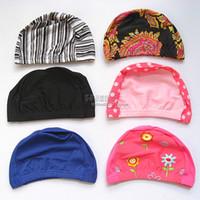 Child Silicone Light gray Cute Child swimming cap multicolour swimwear fabric swim cap for kids female fancy multi-colored