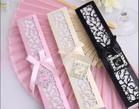Wholesale Luxury wedding party favor gift silk hand fan with laser cut box H110H