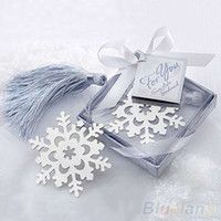 Wholesale New Cute Snowflake Alloy bookmark Creative Exquisite ribbon box gift