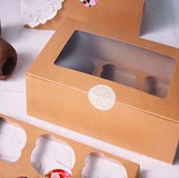 achat en gros de bac à papier de muffins-Livraison gratuite kraft boîte à petit gâteau de papier de carte 6 tasse boîtes de gâteau détenteurs de gâteau muffin entremets portable boîte d'emballage de six bac cadeau faveur