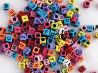 Charms European Beads Letters & Numbers 1000pcs 6*6mm Multi color With Black Alphabet Pony Beads Letter Beads Cube Shape Beads For Loom Band Bracelet