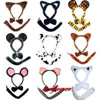 Wholesale Bow Tie Tail Set Halloween Costume Party Rabbit Bunny Leopard Cat Ear Headband