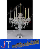 Wholesale modern desk crystal candelabra centerpieces wedding glass arms crystal candelabra can ajustable crystal table lamps candle MYY2136