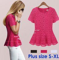 V-Neck Regular Acetate New 2014 Brand Fashion Women Summer Short Sleeve Shirts Lace Flower Hollow Out Chiffon Blouses, Femininas Blusa De Renda Lace