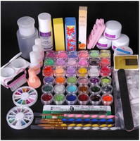 Cheap Wholesale-OP-36 Acrylic Powder Full Acrylic Glitter Powder Glue French Nail Art UV Gel Tip Kit Set 7# Free Shipping Wholesale
