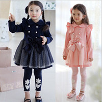 Wholesale Korea Style Children Girls Dresses Yarn Princess Skirts Autumn Double breasted Long Sleeve Bowknot Kids Wear