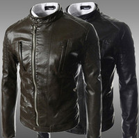 Stand Collar leather motorcycle apparel - leather jacket men motorcycle jackets leather clothing fashion hot sell male leather jacket pure color apparel