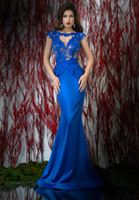 Reference Images Jewel/Bateau Elastic Silk like Satin Hot Sale 2015 Exquisite Mermaid Evening Dresses Beteau Sleeveless Backless Evening Dress Applique Peplum Sweep Train Dresses HL085