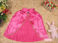 Wholesale Hot Sale Childs Girls Cotton Clothes Children Girls Solid Color Poncho Kids Girls Sapphire Magic Tape Cloak Rose Red M0705