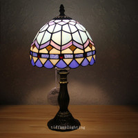 E27 lamps stained glass - D8 quot x H14 quot Vintage Sea Color Table Lights Mediterranean Bedroom Bedsides Table Lamps Kid s Study Room Reading Desk lighting Fixtures
