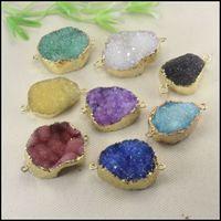 Precio de Mixed crystal beads-El conectador de piedra cristalino de Druzy de la naturaleza 8pcs en color de la mezcla, oro plateó el conectador de la piedra preciosa de Drusy del cuarzo, resultados pendientes de la joyería de los granos de Druzy