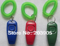 Wholesale 5000pcs Dog Pet Click Clicker whistle with wrist strap PET Whistle Combination Trainer repeller Aid