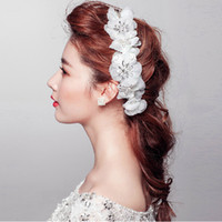 Cheap 2014 Bridal Wedding Handmade Rhinestone Crystals Wedding Hair Jewelry Beads Lace Flower Headpieces Bridal Accessories Hot Sale