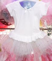 al por mayor falda de baile leotardo negro-3 - 7 edad rosa blanco negro niño manga corta chica danza falda falda de ballet leotard
