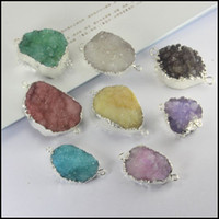 Wholesale 8pcs Silver Plated Nature Druzy Crystal stone Connector in mix color Quartz Drusy gemstone Connector Druzy Pendant Beads Jewelry Findings