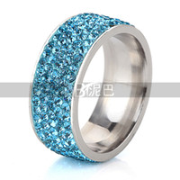 azure mix - High Quality with competitive price women s popular ring Christmas Gift Luxurious Stainless Steel azure Crystal Rings