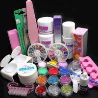 UV Gel Nail Art Set Yes Set & Kit Wholesale-OP-Free shipping Full Acrylic Powder Liquid French Nail Art Brush Glue UV Tip Tool Kit Set #189