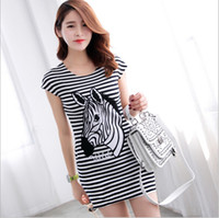 Wholesale 2014 Fashion Dress Womens Ladies Zebra Short Sleeve T shirts Cotton soft stretch Dress Bandage Casual dresses Cocktail Evening Party Dress