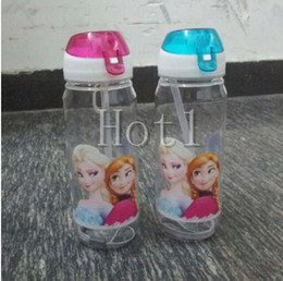 Wholesale DHL High Quality drinkware Frozen Anna and Elsa PP Texture Suction cups kids cartoon water bottle sports bottle