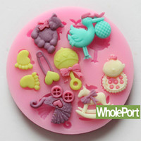 Set Silicone CIQ Baby Doll Foot Stroller Pin Brooch Fondant Mold Lace Silicone Craft 3D Cake Decoration Mould Baking Tool Candy Clay Chocolate
