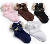 Wholesale Baby lace socks ribbon bows girl socks kids socks leg warmers children socks Infant Fashion Quality Pure Cotton Socks A239