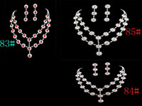 Wholesale Wedding Bridal Clear Ruby Pink crystal necklace earring Sliver Jewelry set