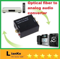 Wholesale D10 pc Digital Optical Coax Coaxial Toslink to Analog RCA L R Audio Converter Adapter by free DHL