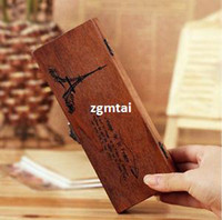 Wholesale New Retro Cool ZAKKA Style Eiffel Tower Wooden Pencil Case Box Stationary E701